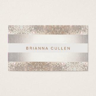 Fun Modern Stripes, Silver Sequin Business Card