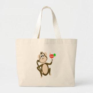 Fun Monkey Drinking a Margarita Cartoon Large Tote Bag