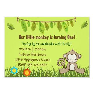 Fun Monkey Safari Design Birthday Invite