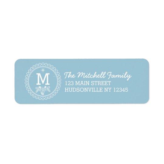 Fun Monogram Festive Blue and White Holiday Return Address Label