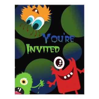 Fun Monsters Halloween Party Invitation Template