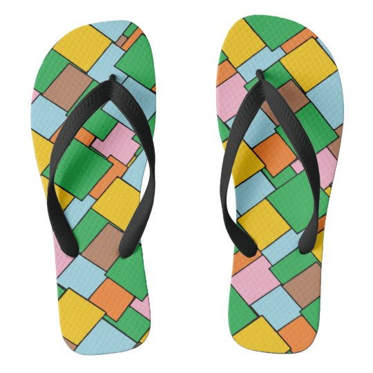 Fun Mosaic Design Flip Flops