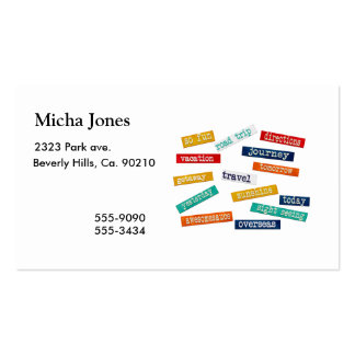 Fun Motivational Vacation Travel Words Business Card