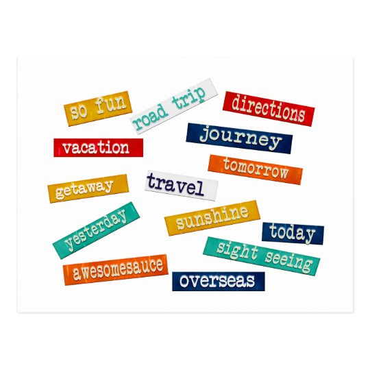 Fun Motivational Vacation Travel Words Postcard