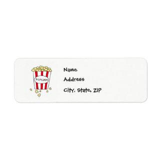 Fun Movie Theater Popcorn in Bucket Address Labels