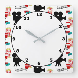 Fun Movie theater reel popcorn pattern clock