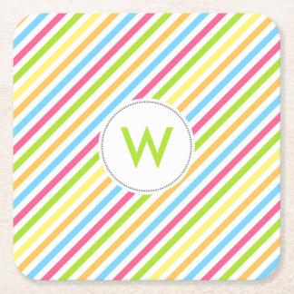 Fun multi color stripes coasters / monogram