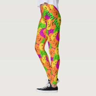 Fun Multicolor Halloween Jack-O-Lantern Leggings