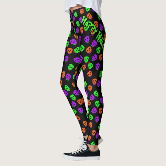 Fun Multicolor Happy Halloween Skull Pattern Leggings