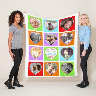 Fun multicolored heart shaped photo fleece blanket