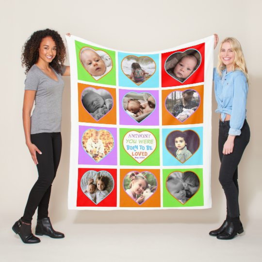 Fun multicolored heart shaped photo fleece blanket