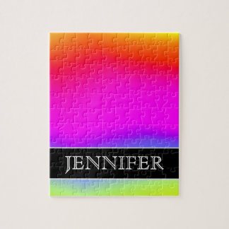Fun Multicolored Rainbow-Like Pattern; Custom Name Jigsaw Puzzle
