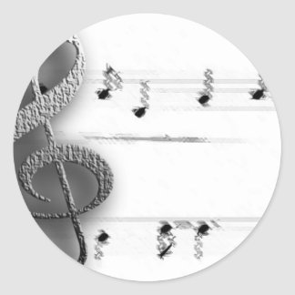 Fun Music Clef Music Gifts for Music Teachers Classic Round Sticker