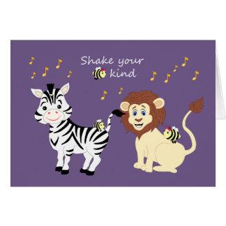 Fun Musical Dancing Zebra & Lion Animals Card