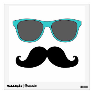 FUN MUSTACHE AND BLUE  SUNGLASSES WALL DECAL