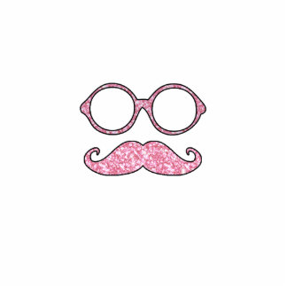 FUN MUSTACHE AND GLASSES, PRINTED PINK GLITTER PHOTO SCULPTURE BUTTON