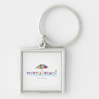 Fun Myrtle Beach, SC Silver-Colored Square Keychain
