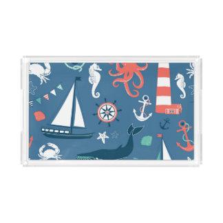 Fun Nautical Graphic Pattern Acrylic Tray
