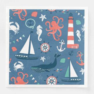Fun Nautical Graphic Pattern Disposable Napkins