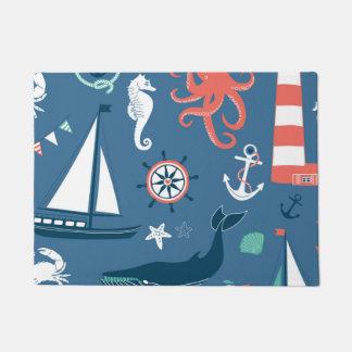 Fun Nautical Graphic Pattern Doormat