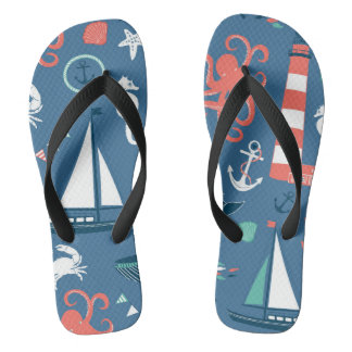 Fun Nautical Graphic Pattern Flip Flops