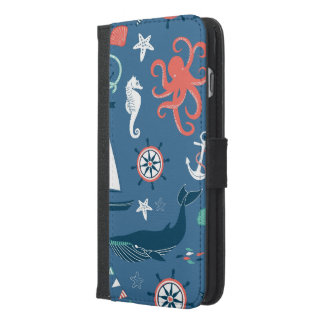 Fun Nautical Graphic Pattern iPhone 6/6s Plus Wallet Case