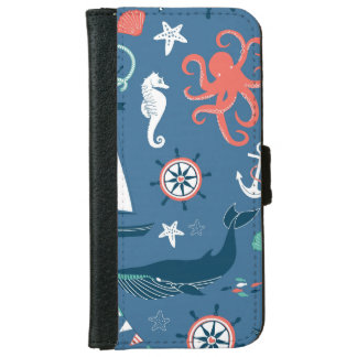 Fun Nautical Graphic Pattern iPhone 6 Wallet Case