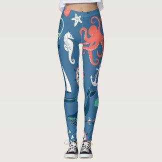Fun Nautical Graphic Pattern Leggings