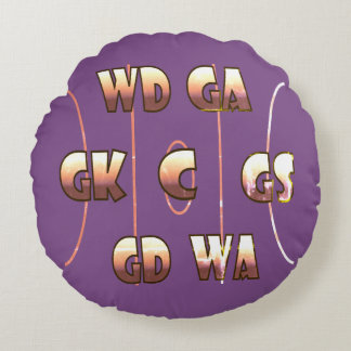 Fun Netball Player Positions Themed Design Round Pillow