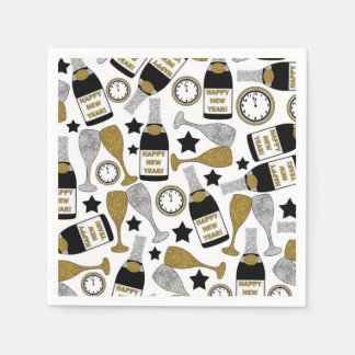 Fun New Years Eve champagne party napkins