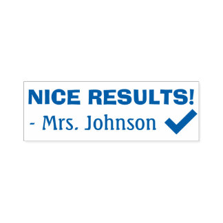 "Fun ""NICE RESULTS!"" Grading Rubber Stamp"