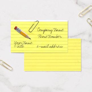Fun notepaper pencil Trompe-l'œil Business Card