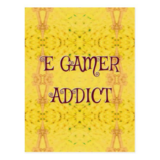 Fun Novel Yellow 'E Gamer Addict Postcard