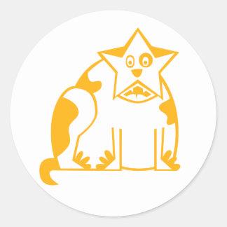 Fun ny Fat Cat Classic Round Sticker