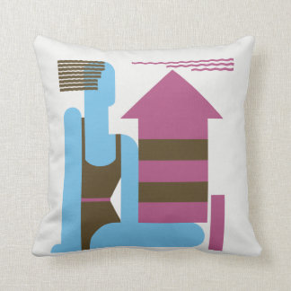 Fun on the beach modern art deco jazz ego throw pillow