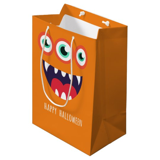 Fun orange 3 eyed cartoon Halloween monster Medium Gift Bag