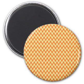Fun Orange and Cream Chevron Zig Zag Stripes 2 Inch Round Magnet