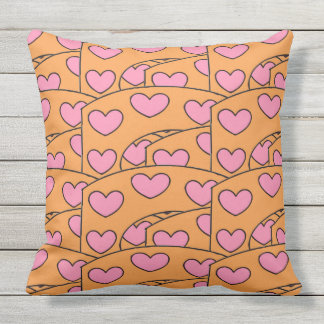 Fun Orange and Pink Hearts Pattern Large Throw Pillow