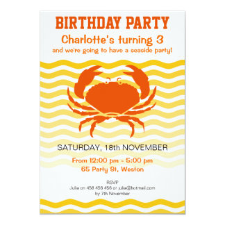 Fun orange crab on a sandy seashore party card
