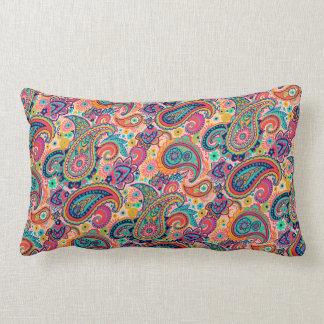 Fun Orange Multicolor Paisley Pattern Lumbar Pillow