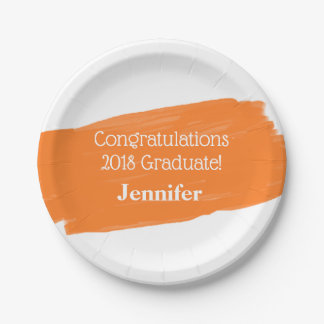 Fun Orange Oil Painting Personalized Graduation Paper Plate