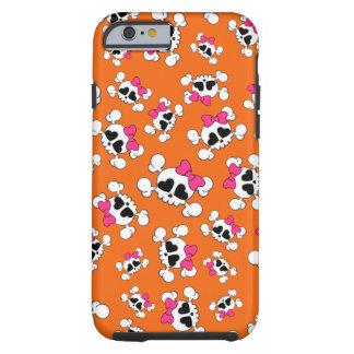 Fun orange skulls and bows pattern iPhone 6 case