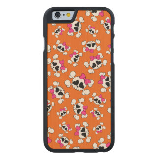 Fun orange skulls and bows carved® maple iPhone 6 case