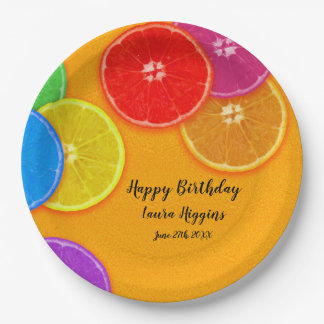 Fun orange slices Birthday Party Paper Plate