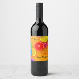 Fun orange slices  Birthday Party Wine Label