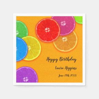 Fun orange slices Happy Birthday Party Paper Napkin