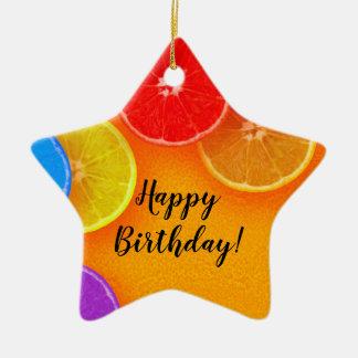 Fun orange slices Thank you Birthday Party Ceramic Ornament