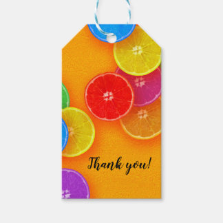 Fun orange slices Thank you Birthday Party Gift Tags