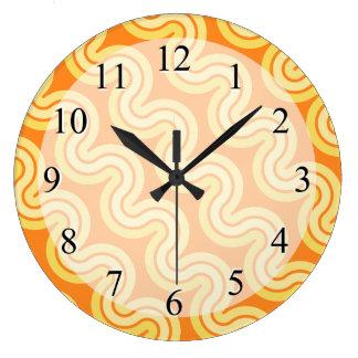 Fun Orange Wavy Pattern Design Clock