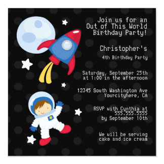 Fun outerspace astronaut birthday party invitation